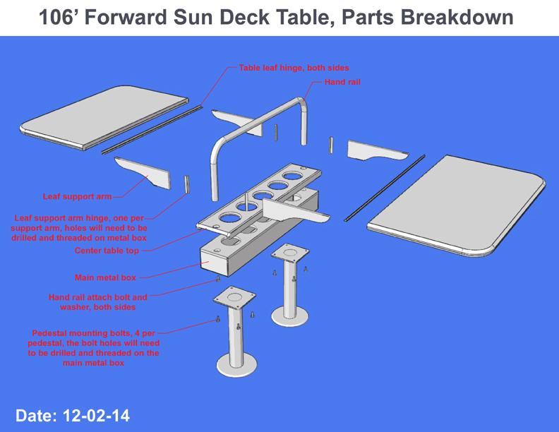 Folding table parts breakdown